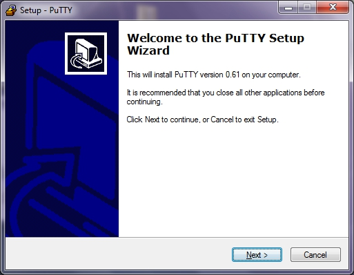 Welcome to the PuTTY Setup Wizard window