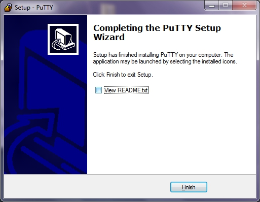 Completing the PuTTY Setup Wizard window